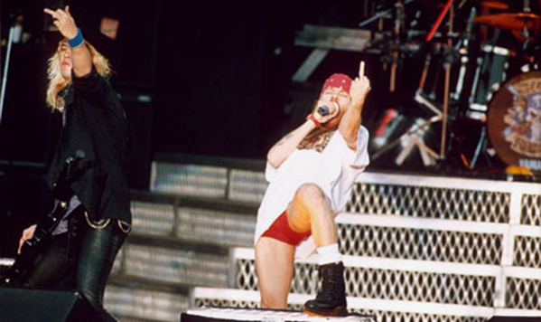 Axl Rose Duff Flipping The Bird Guns N Roses