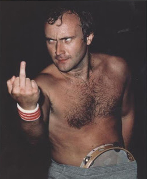 Phil Collins Flipping The Bird Middle Finger