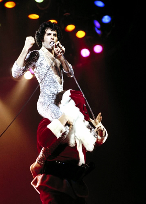 Freddie Mercury Santa Claus Shoulders Queen