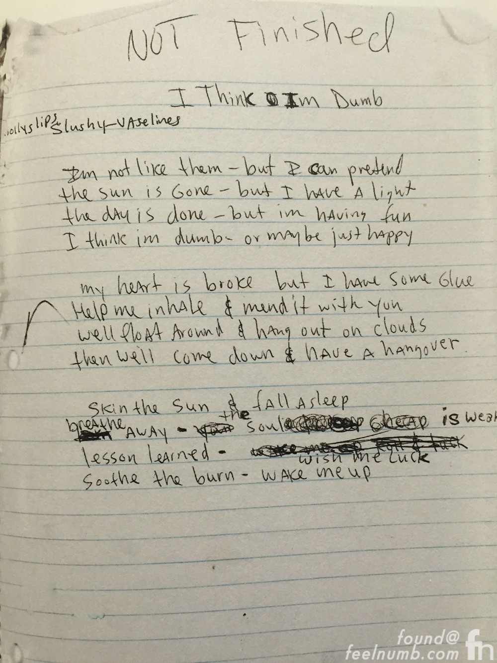 Kurt Cobain Dumb Lyrics Notebook Journals Frances Bean