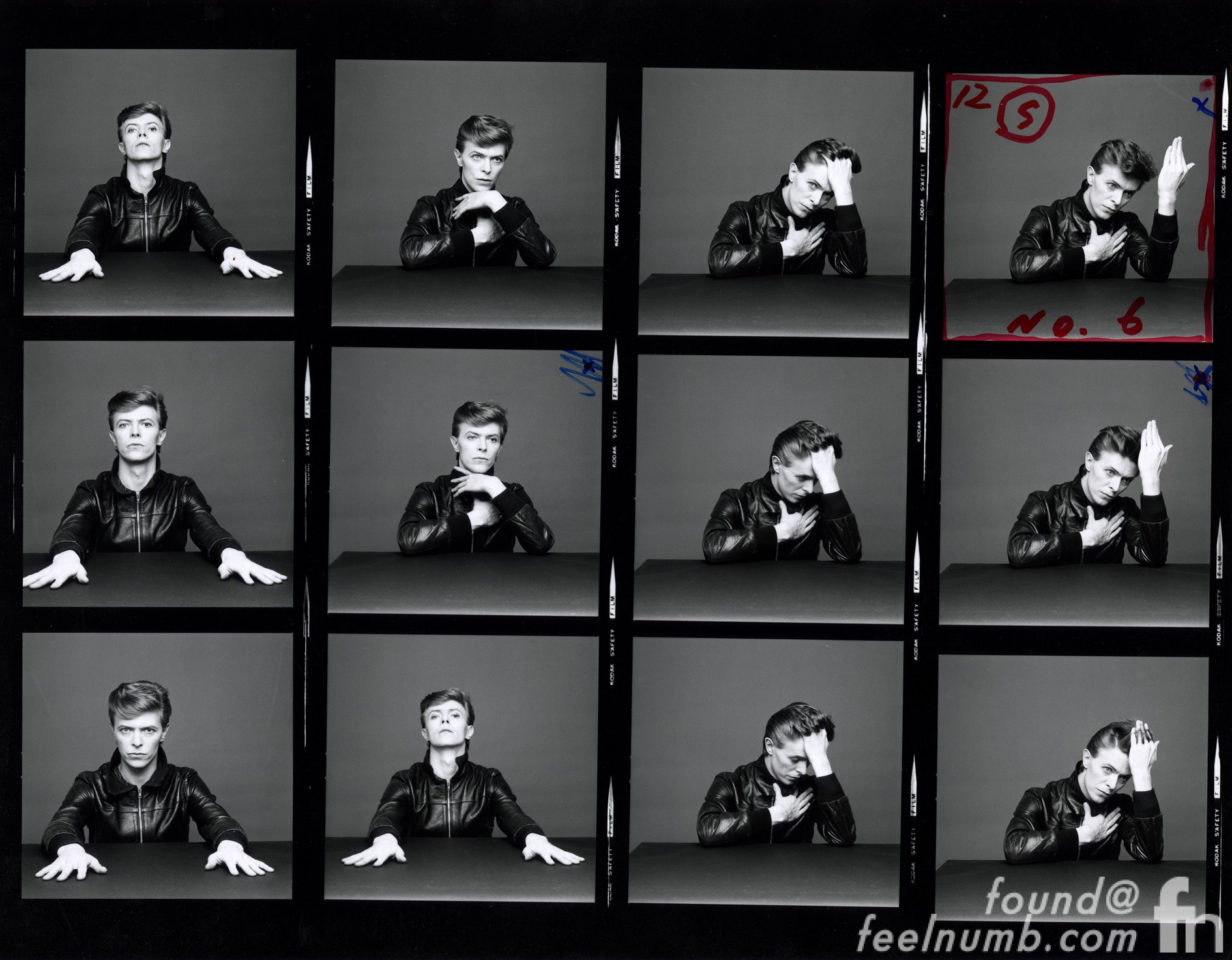 David Bowie Heroes Photshoot Contact Sheet