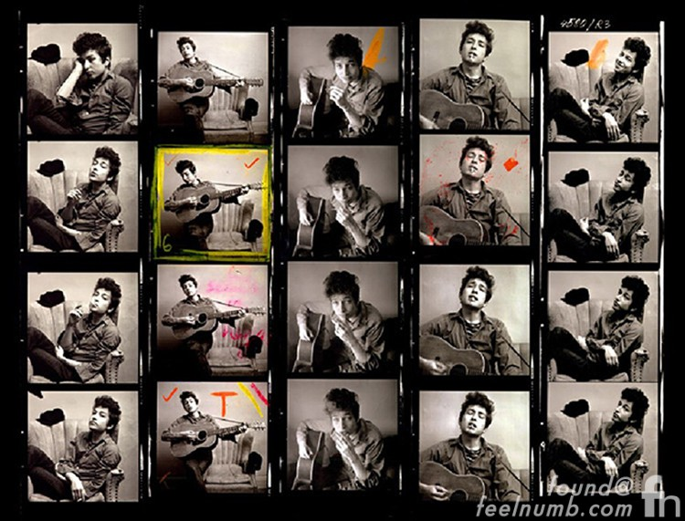 Bob Dylan Martin Guitar Ad Photo Contact Sheet