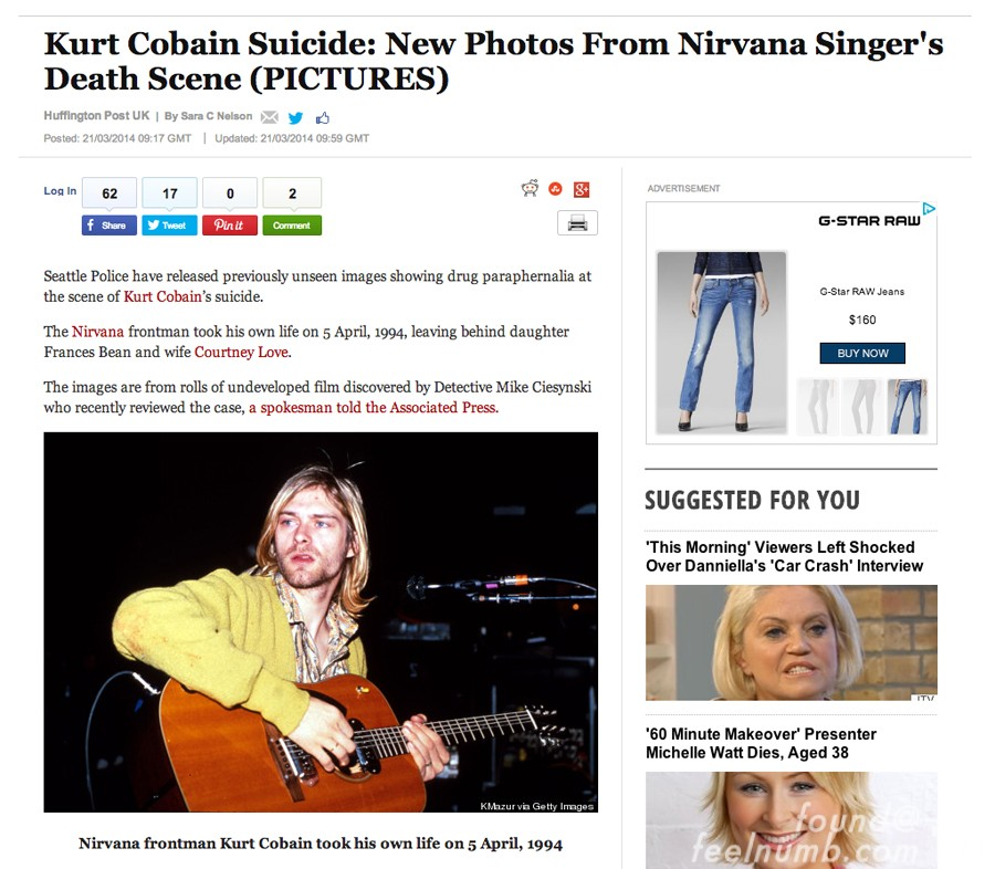 Kurt Cobain Nirvana Huffington Post Photo Right Handed