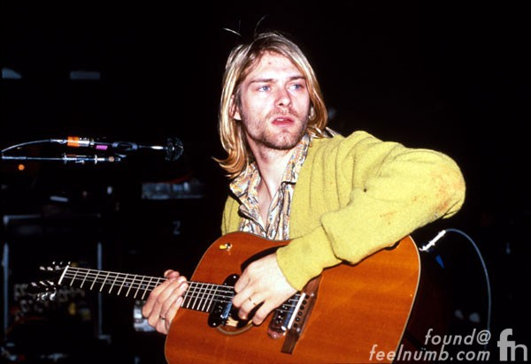 Kurt Cobain Kevin Mazur Photo Milwaukee Acoustic Guitar Yellow Cardigan