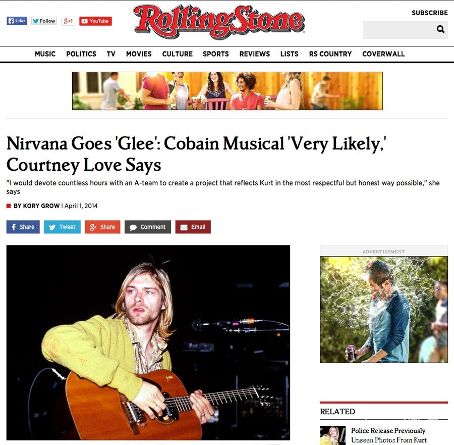 Rolling Stone Magazine Kurt Cobain Right Handed Photo Feelnumb