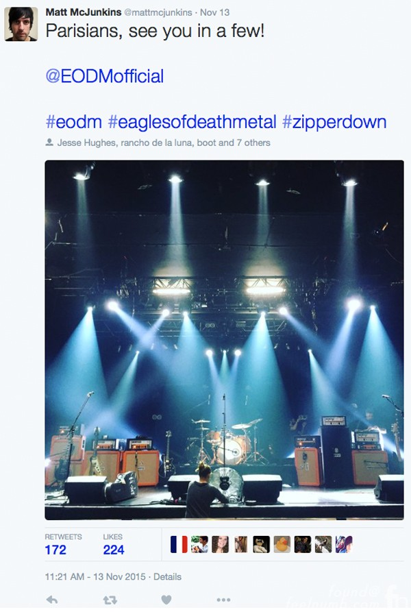 Eagles of Death Metal Matt McJunkins Twitter EODM band