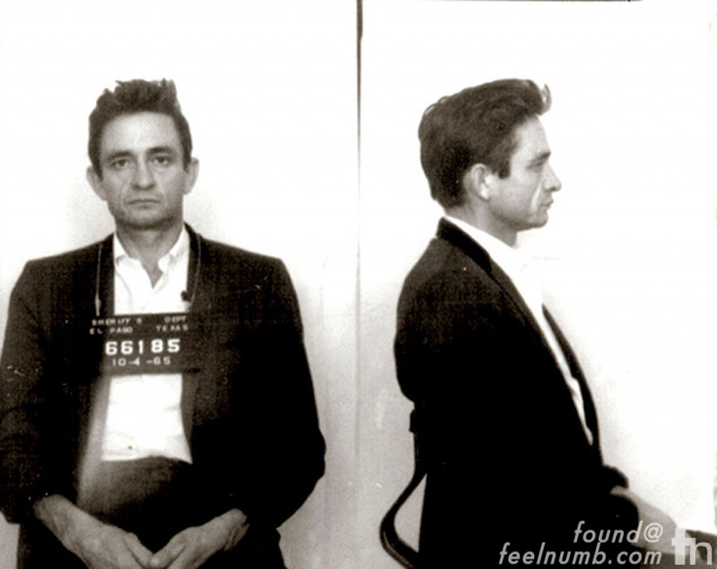 Johnny Cash Mugshot Sticker El Paso Texas 1965 Arrest