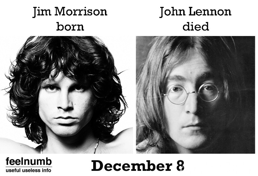 December 8 Jim Morrison Birth John Lennon Death