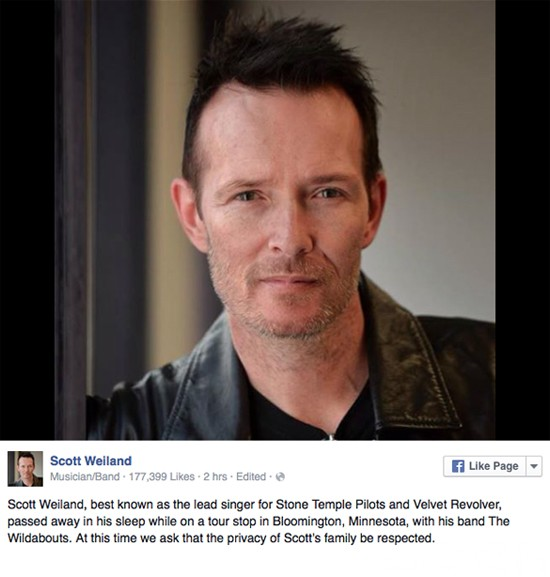 Scott Weiland Death Announcement Instagram December 3, 2015 Minnesota
