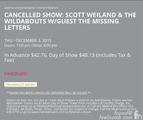 Scott Weiland Death Minnesota December 3, 2015