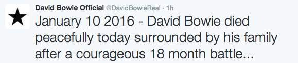 David Bowie Death Announcement January 10, 2016