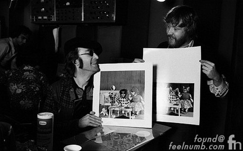 Nilsson Lennon Holding Up Artwork for Pussy Cats