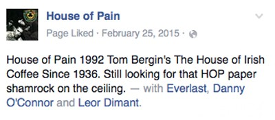 House of Pain Facebook Tom Bergin Back Cover Bar Location