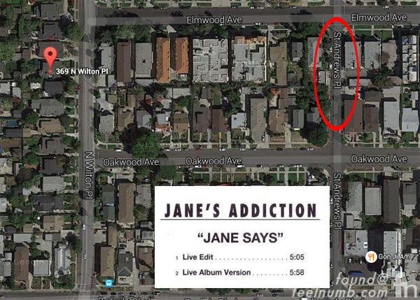 Janes Addiction Street name St Andrews Wilton Place House Perry Farrell Jane Bainter Jane Says