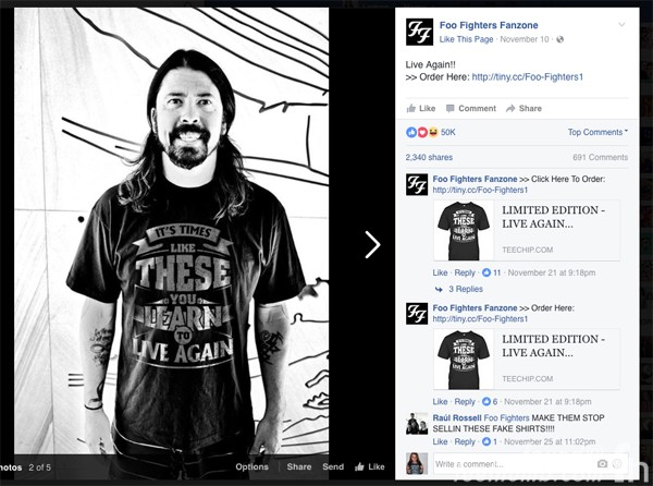 Foo Fighters Fanzone Fake Facebook Advertisement Dave Grohl Photoshop