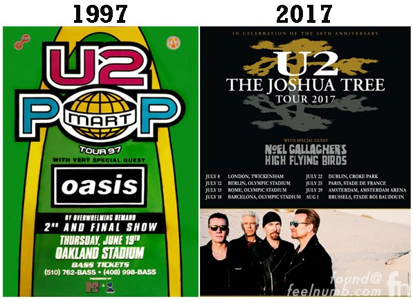 Oasis U2 Noel Gallagher Joshua Tree Tour High Flying Birds Support