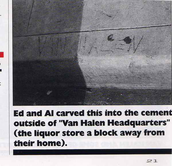 Van Halen The Inside Magazine Cement Scrawl Pasadena California House