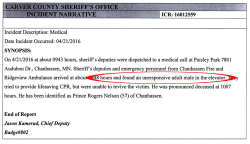 Prince Police Report Elevator Location Paisley Park